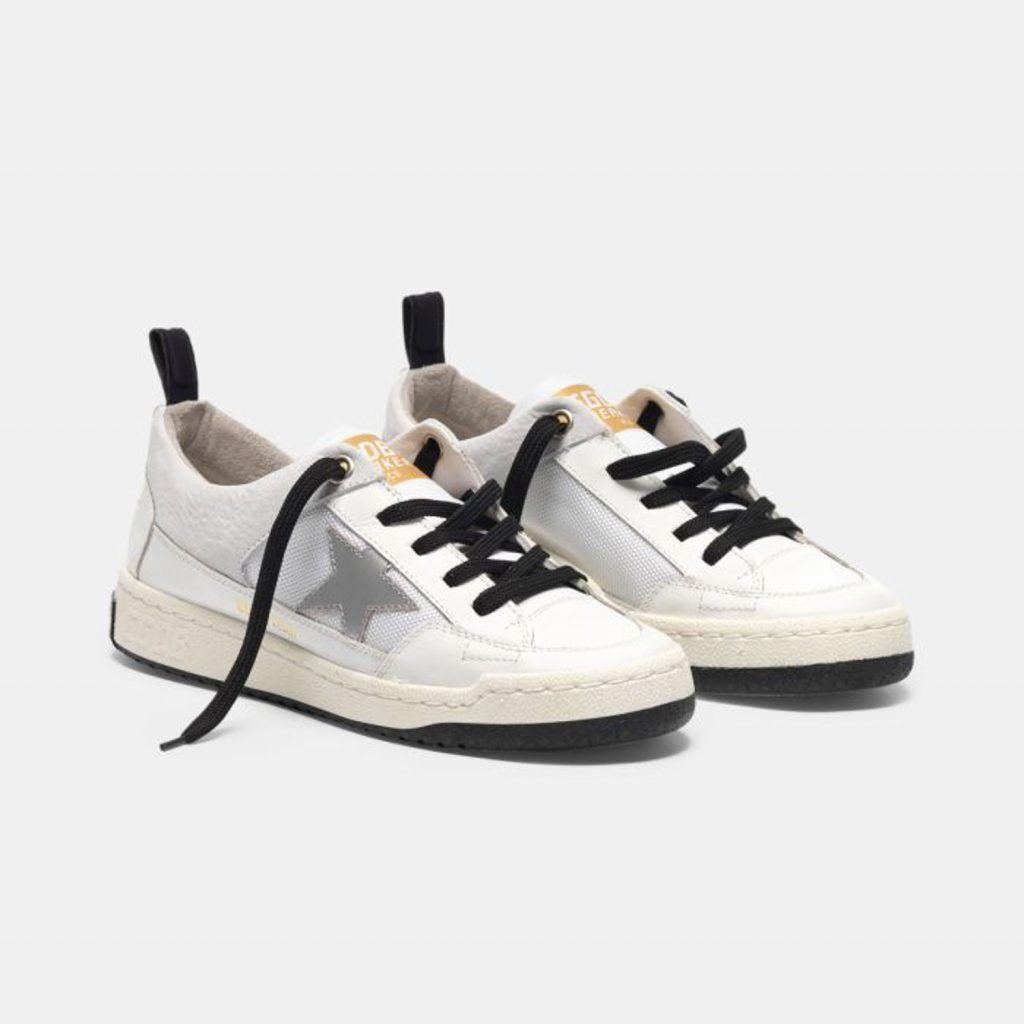 GGDB-GOLDEN GOOSE YEAH 系列運動休閒鞋 - 白色皮革銀色鏡面星星標誌
