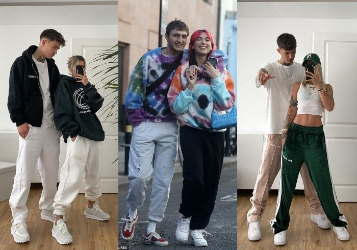 照片裡有2個人、大家站著、穿同款單品、情侶