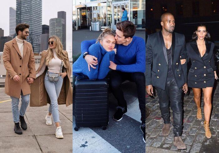 besides dua lipa and anwar hadid, kanye west and kim kardashian also do the couple's matching looks. , 除了dua lipa和anwar hadid外,kanye west和金卡達夏過去也經常以穿同款單品的情侶穿搭亮相