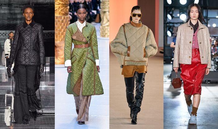 絎縫大衣可說是輕薄版的羽絨大衣,在這一季的秀台中可以看見女模特穿著絎縫大衣走秀