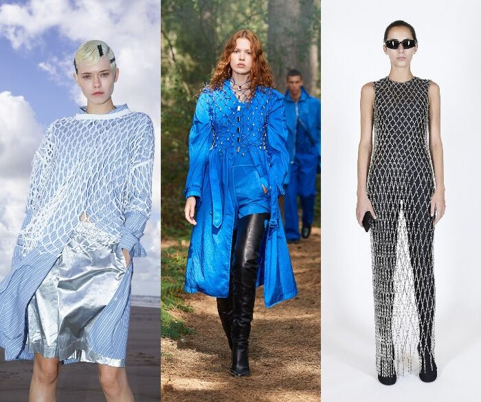 2021春夏漁網元素取代了「蕾絲」URBERRY、HERMES、RICK OWNES、DRIES VAN NOTAN、BALENCIAGA把漁網編織上衣套在各種單品上