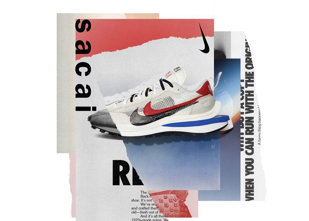 圖片中有一張海報,上面有一雙Nike x Sacai VaporWaffle 的球鞋