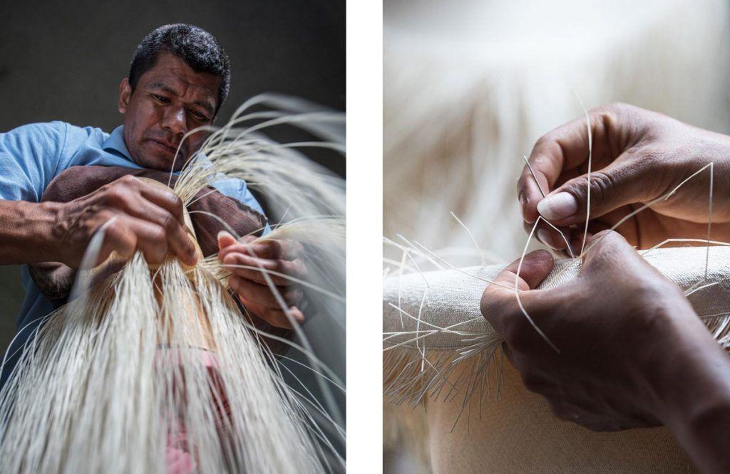 男人、編織、手、藺草、草帽、巴拿馬草帽
