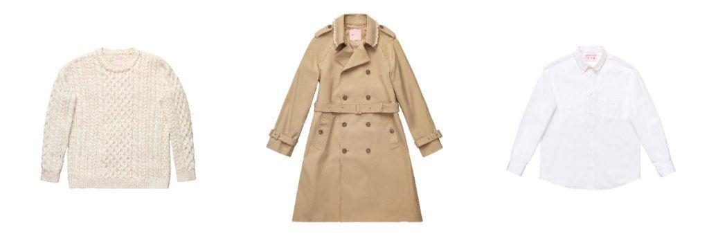 simone rocha X H&M men wear, pearl sweater, trench coat, pearl collar shirt