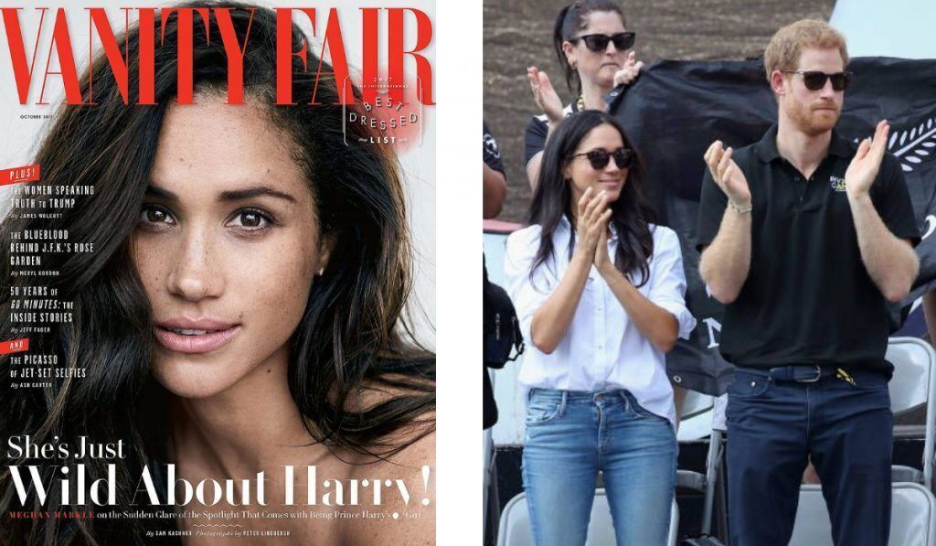 left image shows meghan markle on the cover of vanityfair, right image shows meghan and harry attended invictus games