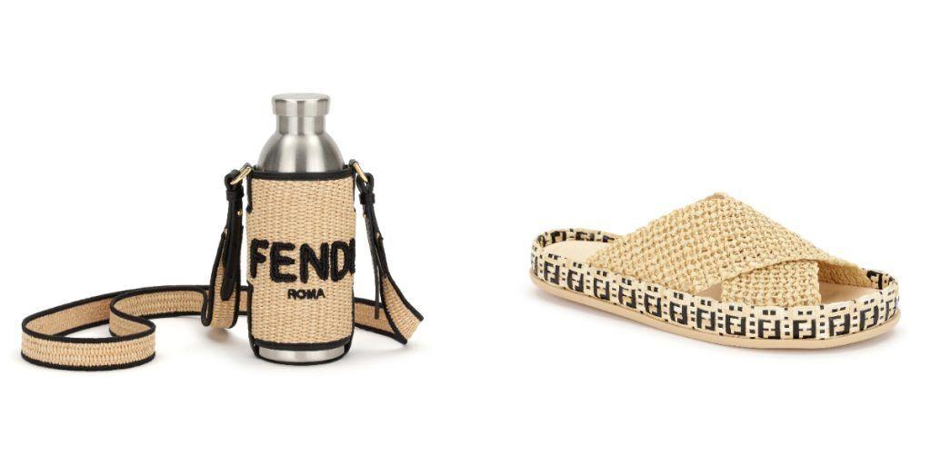 FENDI編織水壺包/價格店洽、FENDI Reflections酒椰棕櫚葉纖維平底拖鞋/26,000元