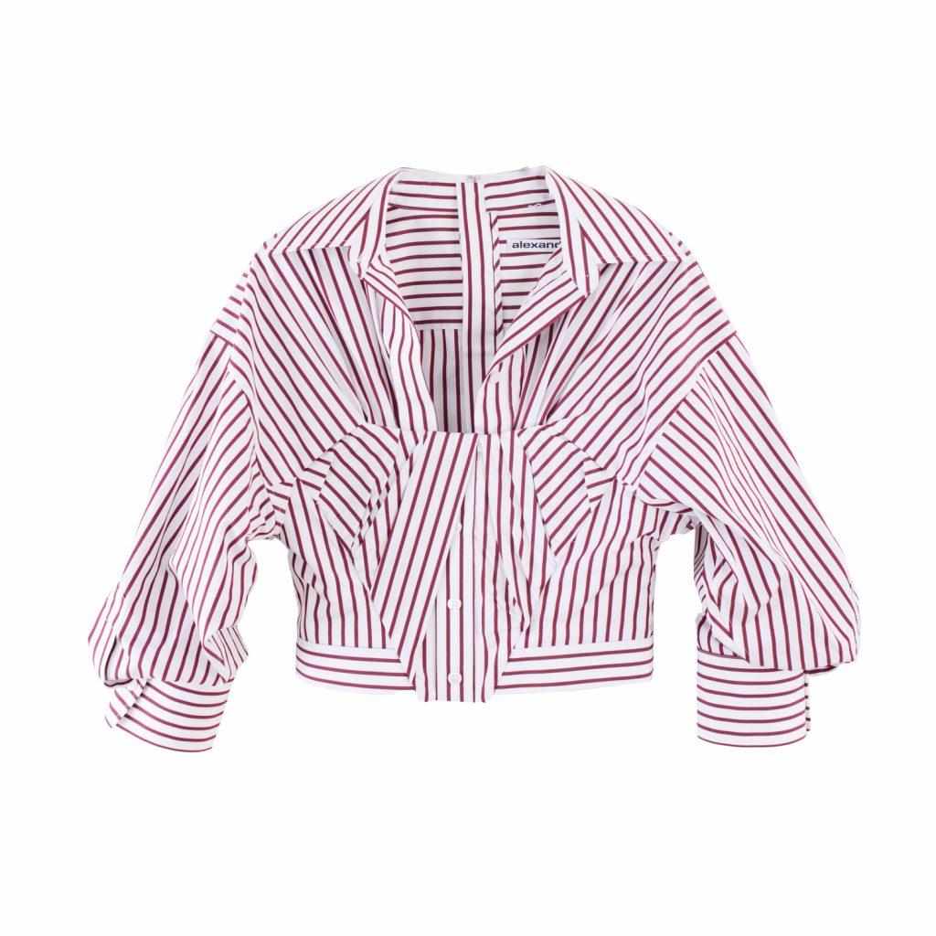 alexanderwang 皺褶條紋短版襯衫