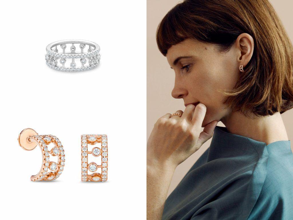 左上為Dewdrop 18K白金鑽石戒指,左下為Dewdrop18K玫瑰金鑽石圈形耳環,非常適合作為母親節禮物送出
