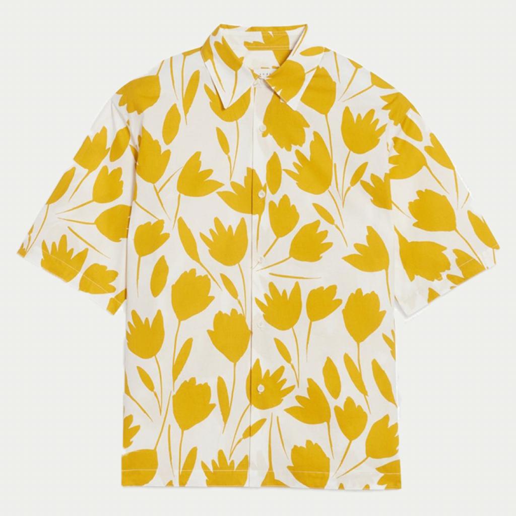 Sandro Homme 黃色花紋短袖襯衫