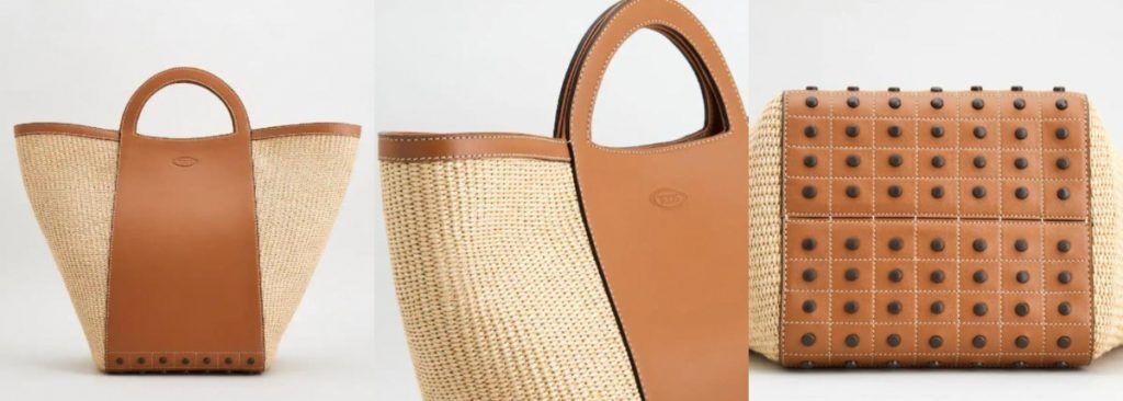 TOD'S 編織豆豆水桶包-淺棕色+奶油色